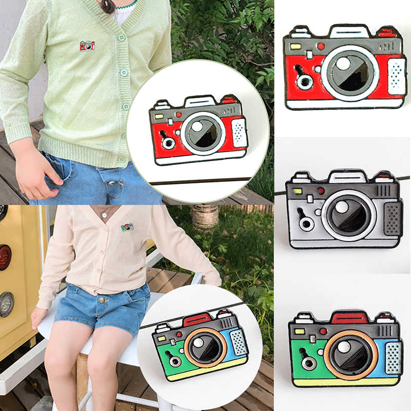 Coat Cap Backpack Photography And Kids Badge Gifts Cartoon 1PC Brooch Green Rainbow Digital Camera Enamel Pins Gray Red