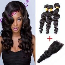 Charming 8A Indian Loose Wave 2 Bundles With Closure 100% Unprocessed Virgin Hair Human Hair Bundles Hair Company