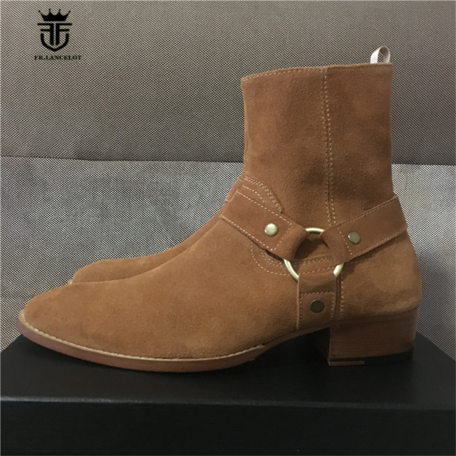 New REAL PICTURE Chelsea Denim Men Boots Handmade Pointed Toe Plus Size Slim Luxury Genuine lLeather Men BootsNew REAL PICTURE Chelsea Denim Men Boots Handmade Pointed Toe Plus Size Slim Luxury Genuine lLeather Men Boots