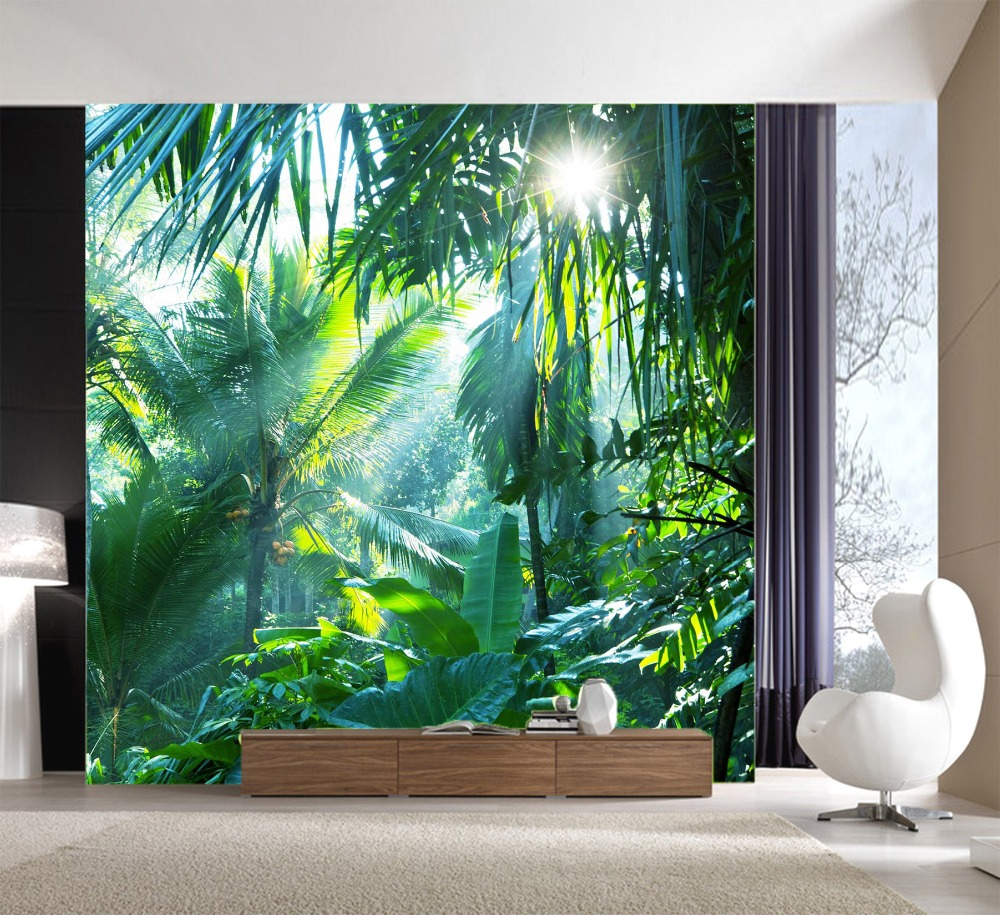 [Self-Adhesive] 3D Tropical Green Forest 13 Wall Paper Mural Wall Print Decal Wall Murals