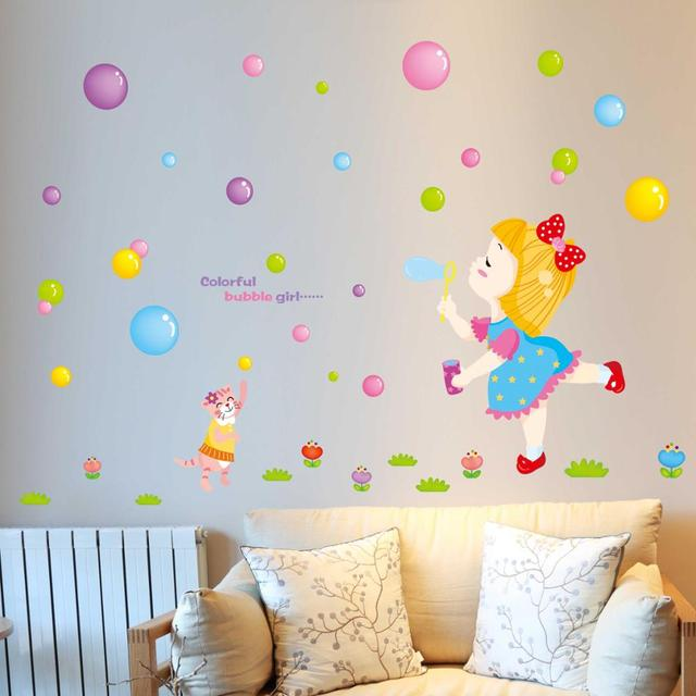 Colorful Cartoon Ing Bubbles Baby Room Bedroom Wall Stickers Children S Nursery Sticker