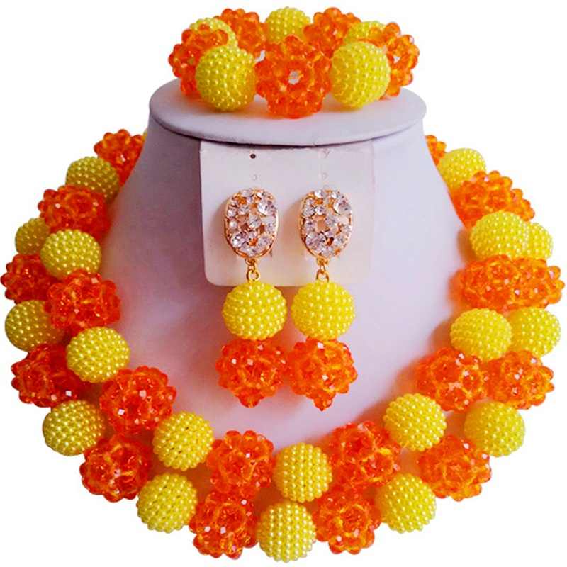 Widely Popular Orange Yellow Party and Festival Crystal African Women Beads Jewelry Sets 2C-ZZSJ-43Widely Popular Orange Yellow Party and Festival Crystal African Women Beads Jewelry Sets 2C-ZZSJ-43