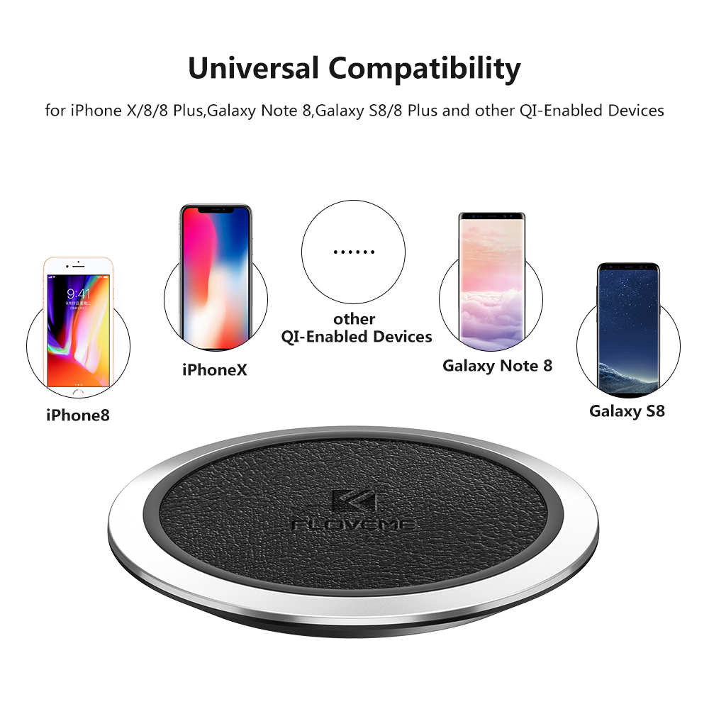 FLOVEME Qi Wireless Charger For iPhone X 8 8 Plus For Samsung S9 S8 Plus S7 S6 Mobile Phone Chargers Fast Wireless Charging Pad