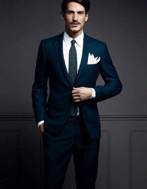 2018 Latest Coat Pant Designs Navy Blue Men Suit Slim Fit 2 Piece Groom  Tuxedo Custom 94657a3fdb50