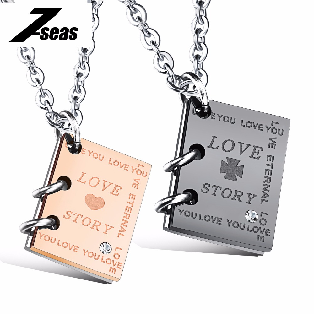 dd4d8312f0a8 Romántico libro diseño Love Story Carta amante colgante collar de lujo AAA  + CZ Rose oro color mujeres hombres collar de la joyería