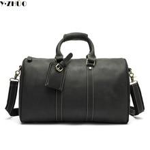 Echtes leder männer große kapazität reise duffle bag messenger schultertasche für männer vintage reisetaschen koffer handtasche