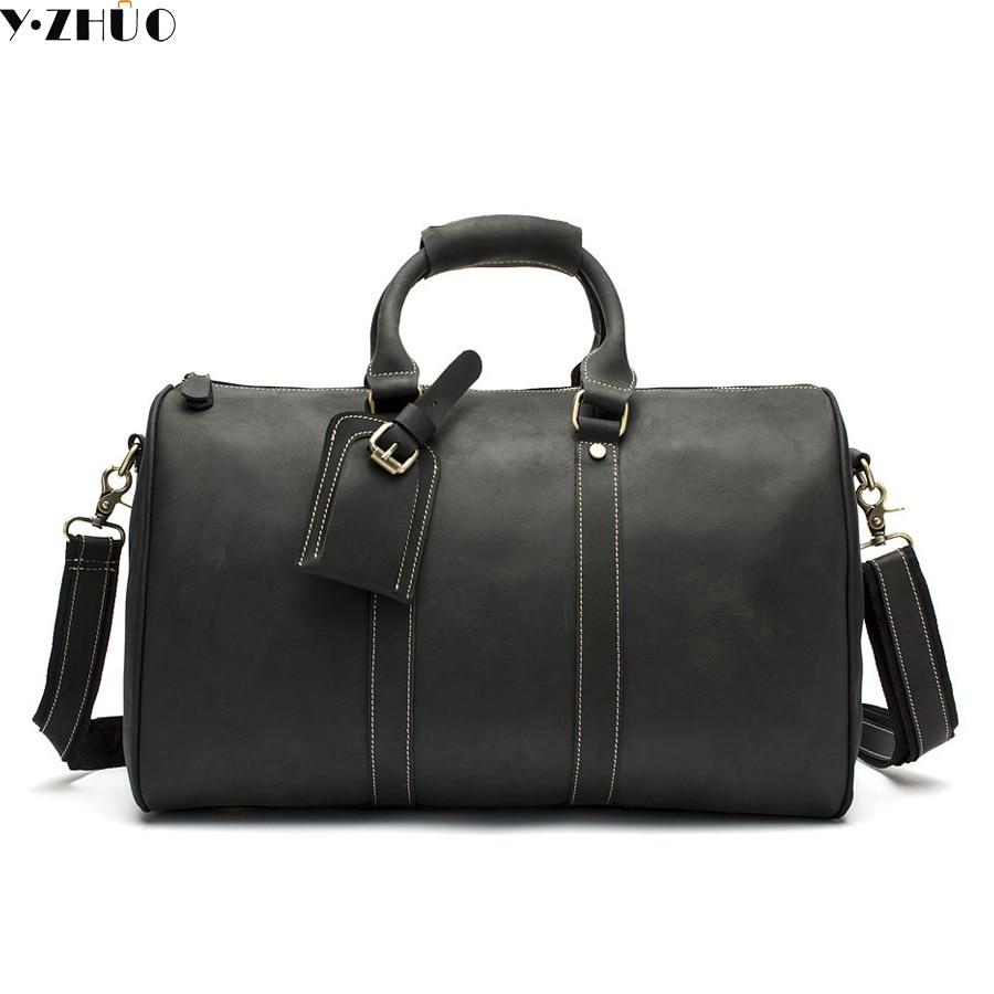 Genuine leather men large capacity travel duffle bag messenger shoulder bag for men vintage travel bags suitcase handbag