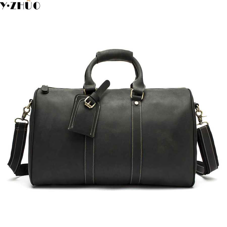 yzhuo genuine leather men large capacity travel duffle bag messenger shoulder bag for men - Mens Leather Duffle Bag