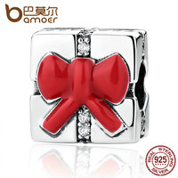 BAMOER 925 Sterling Silver Small Charm Red Bow Knot Christmas Gift Charms Fit Women Bracelets Necklaces