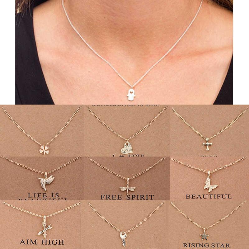 1PC Fashion Women Necklaces Pendants Include Card 10 Styles Charm Clavicle Chains Choker Chic Beautifully Gift
