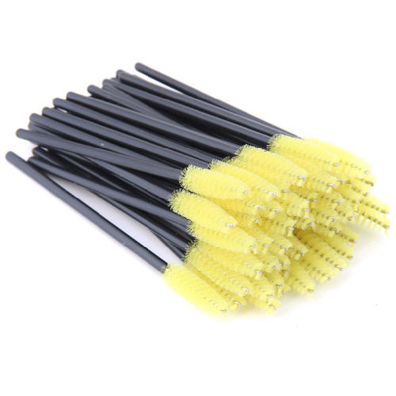 50Pcs Silicone Head Disposable Mascara Wands Eyelash Brushes Lash Extention