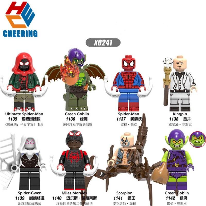 Single Sale Building Blocks Spider Verse Miles Morales Kingpin Scorpion Gwen Stacy Figures Bricks Model Toys For Children X0241