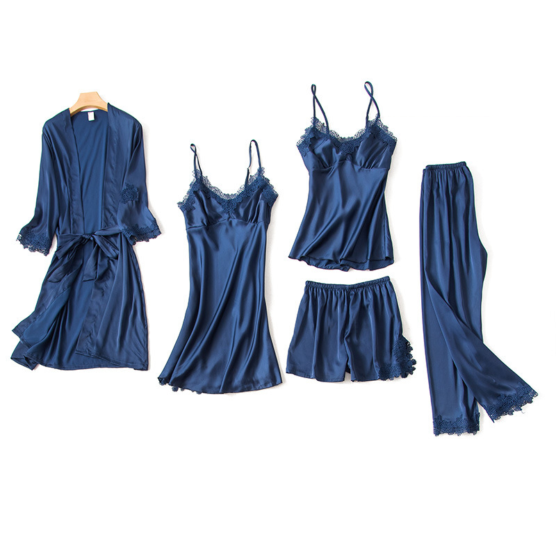 5PCS Pajamas Set Nightdress Home Wear Robe Sexy Women Lace Sleeve Sleepwear Negligee Navy Blue Elegant Kimono Bathrobe Gown
