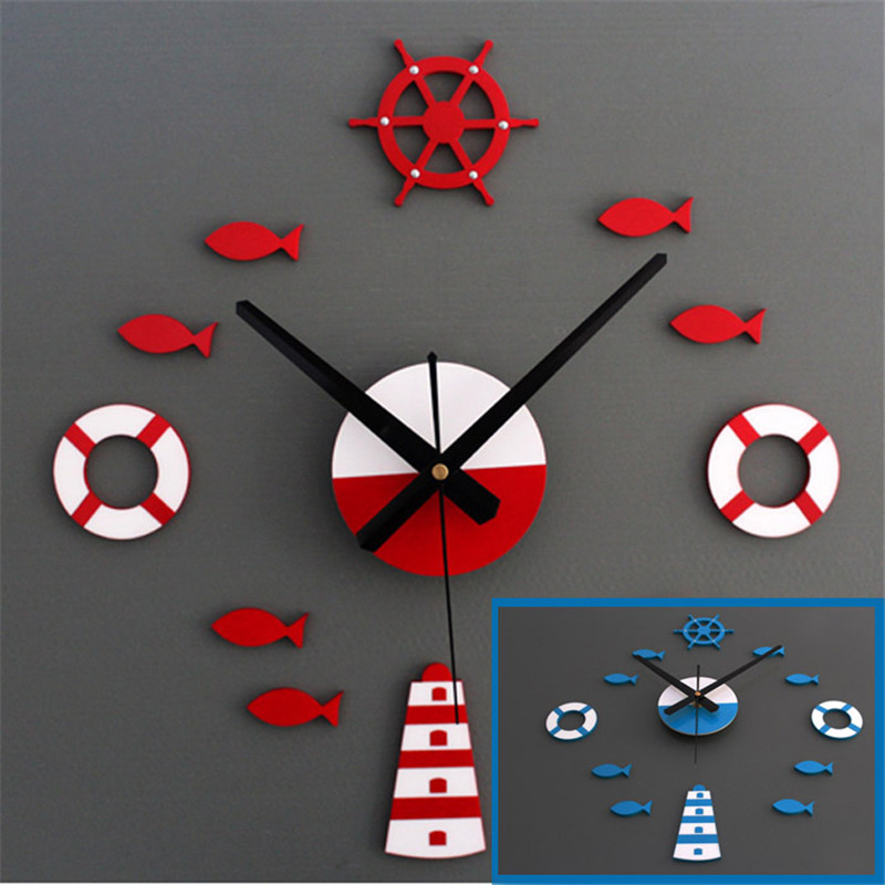 diy 3d wall clock home wall stickers decoration art clock red blue for living