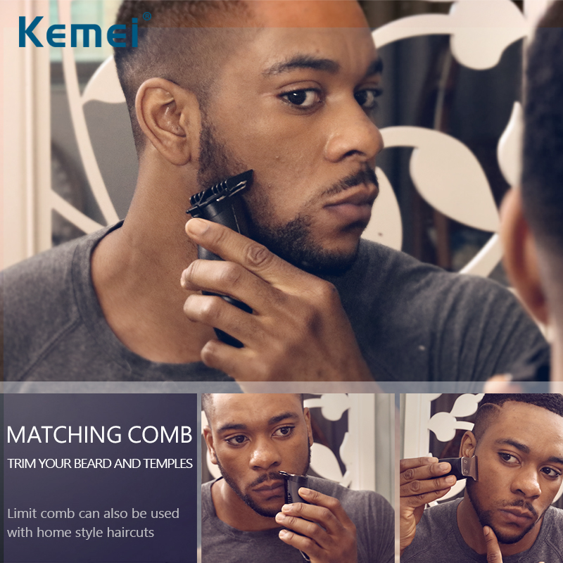Купить с кэшбэком Kemei Professional Modelling Hair Trimmer 0mm Baldheaded Powerful Electric Barber Hair Clipper Razor graphic carving Limit Combs