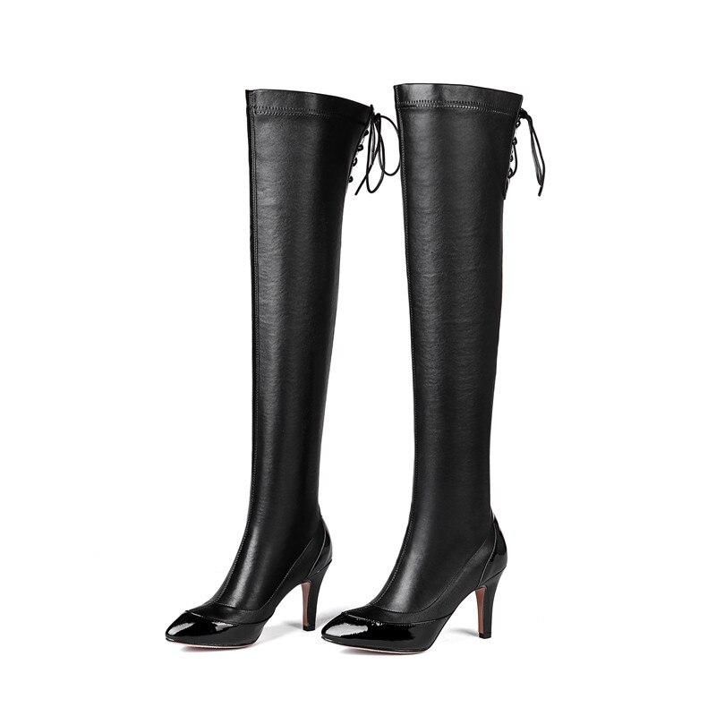 autunno scarpe tacchi alti al slip 2019 nero di speciale stivali Asumer scarpe punta donne top vino New a ginocchio on rosso inverno pelle pu mucca Offerta 1zqnxZ6