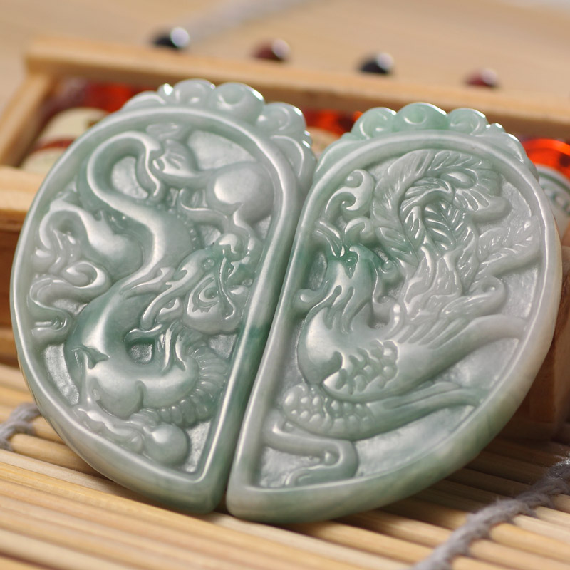 Natural Hand Carved Green stone Dragon and Phoenix Pendant Lovers pendant jewelry gifts pure 24k yellow gold natural jadeite carved dragon phoenix pendant