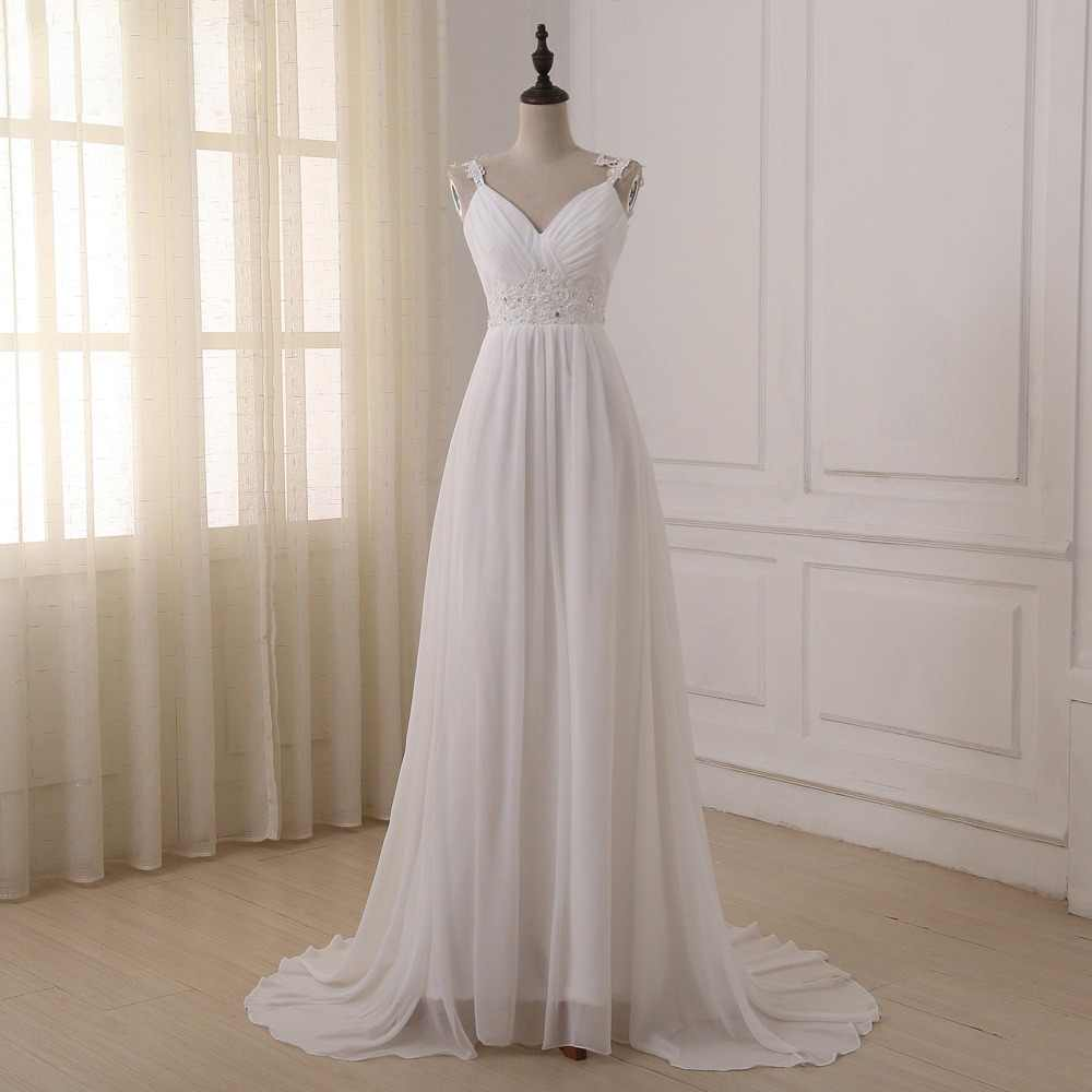 ADLN Beach Wedding Dress vestido de noiva In Stock Plus Size Spaghetti Straps Chiffon Wedding Gowns Bridal Dresses