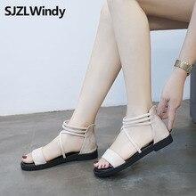 2019 New hot sale shoes woman The Roman style flat sandals  Fine belt zipper womens summer
