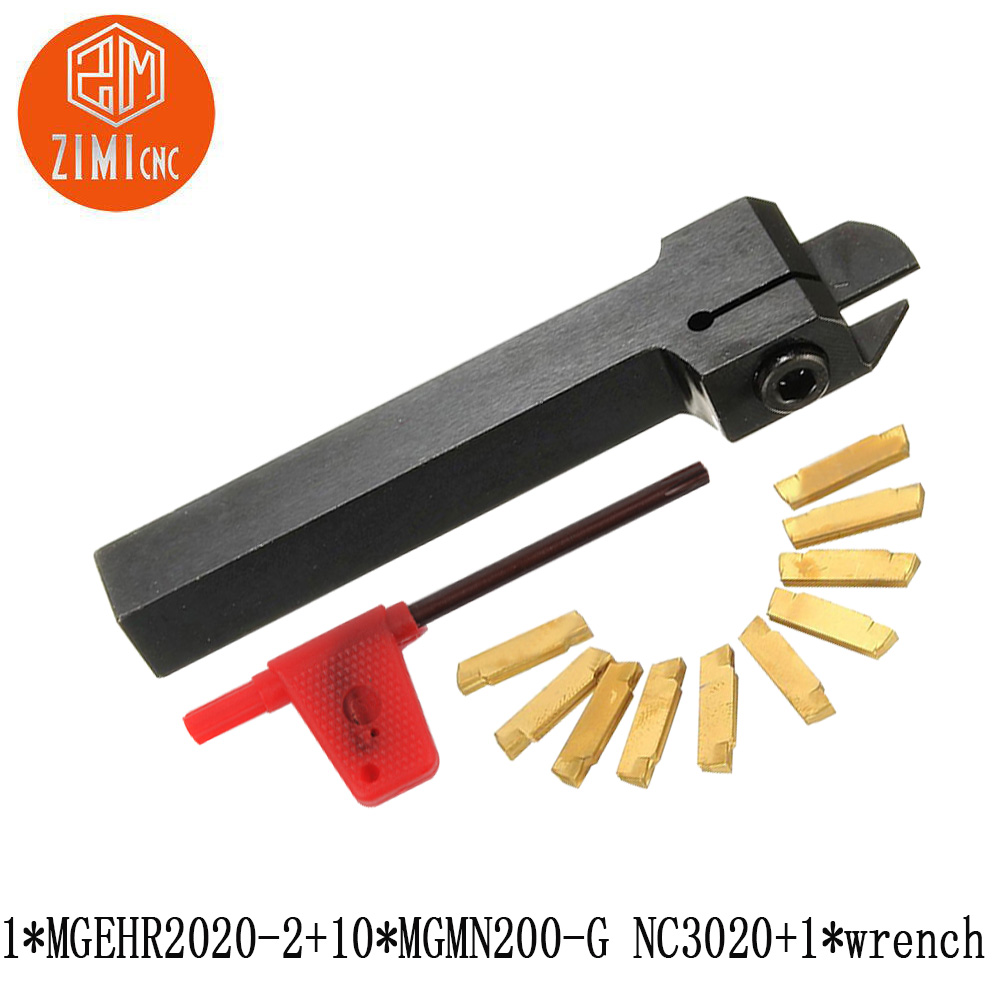 10pcs MGMN200-G Inserts 1pc MGEHR1212-2 Lathe Turning Tool Holder Boring Bar with Wrench