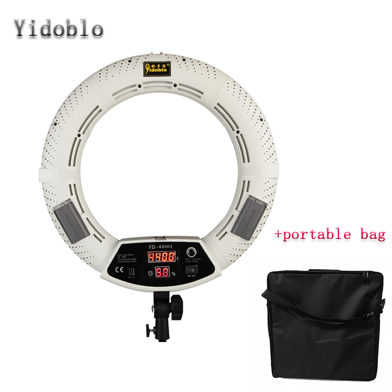 Yidoblo FD-480II white Bi-color Photo Studio Ring Light + Soft bag LED Video Lamp Photographic Lighting 5500K 480LED Lights 4 55w color soft lights lamp stage lighting film and television studio