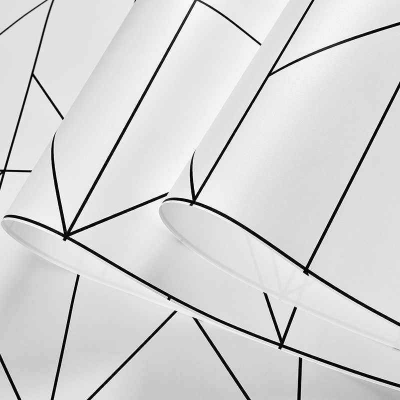 Nordic Black White Lines Wall Papers Home Decor Minimalist Geometric Wallpaper Roll For Living Room Bedroom Wallls Mural