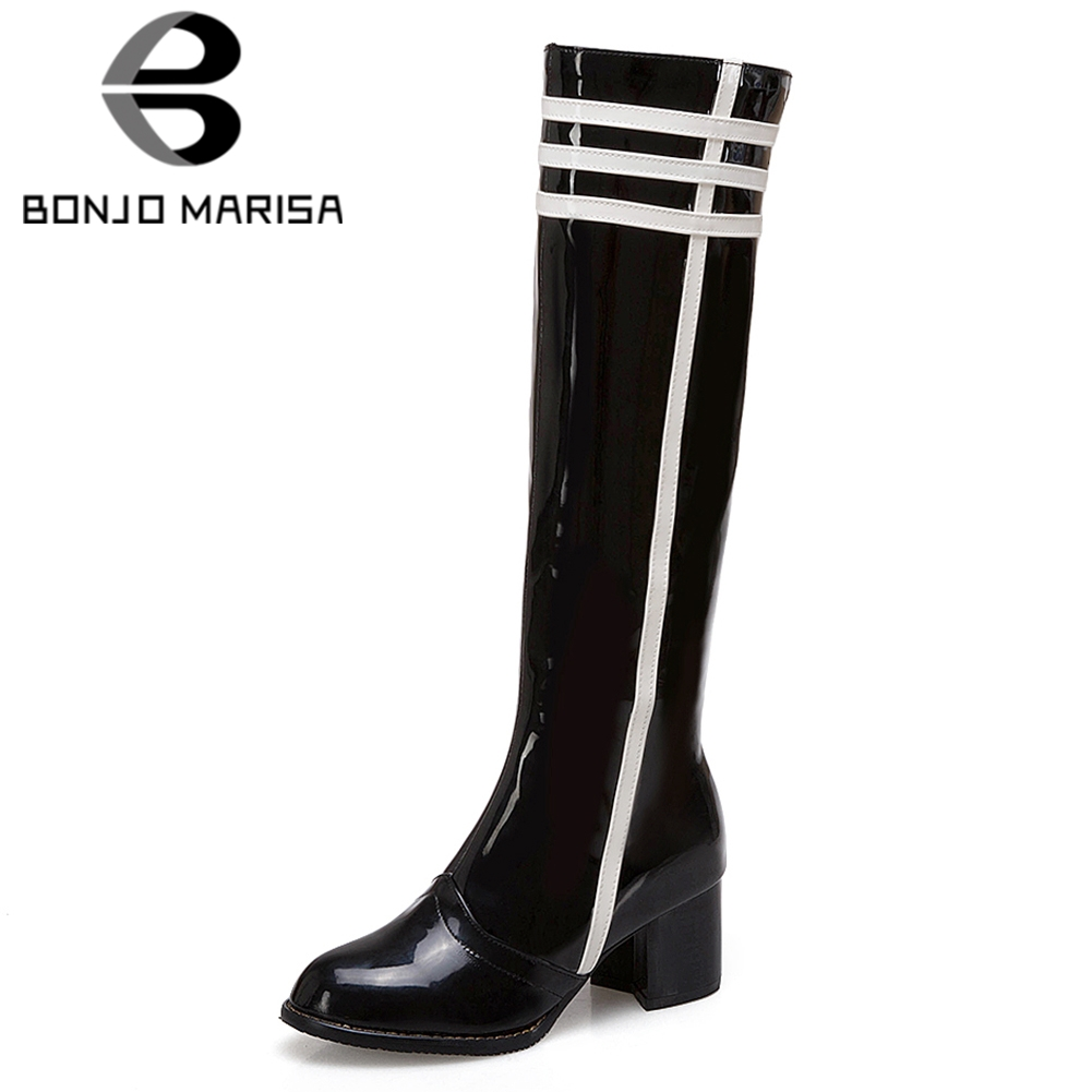 BONJOMARISA 2019 Winter Plus Size 34-48 Brand Knee High Rain Boots Women Patent PU Fashion Fur High Heels Shoes Woman WaterproofBONJOMARISA 2019 Winter Plus Size 34-48 Brand Knee High Rain Boots Women Patent PU Fashion Fur High Heels Shoes Woman Waterproof