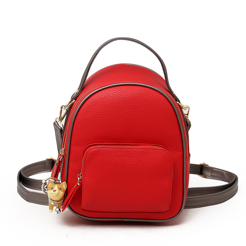 Backpack Women Fashion PU Leather Female Backpacks 2018 Small Bags for Girls Zipper Solid Women Bags Teenage Girls Shoulder Bag fashion pu geniune leather shoulder bag women backpacks crocodile pattern small backpack embossed school bags for girls