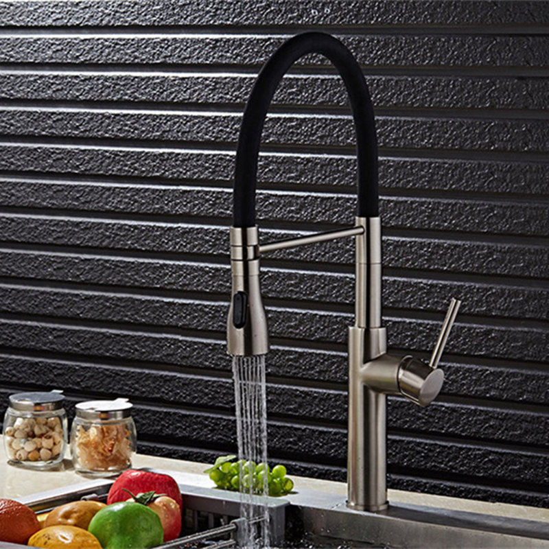 Chrome Plated Brushed Nickel Water Tap Pull Out Kitchen Faucet Mixer 2-Function Water Outlet All Around Rotate Swivel hcms 2972 hcms2972 2972 dip14 page 2