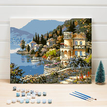 Paint Drawing By Number Sea Europe DIY Propylene Coloring Picture Hand Painted Oil Painting On Canvas For Living Room Decoration(China)