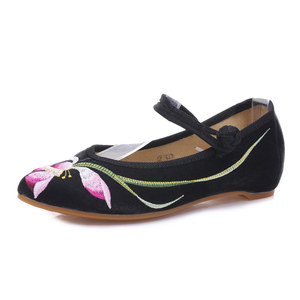 Image 2 - Veowalk bailarinas bordadas de franela para mujer, zapatos planos con punta bordada, de algodón, cómodos, con correa en el tobillo