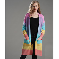 Rainbow Sweater Women Knitting Cardigan Casual Winter Contrast Color Stripe Long Cardigan Sweater Knitted Clothes E1966