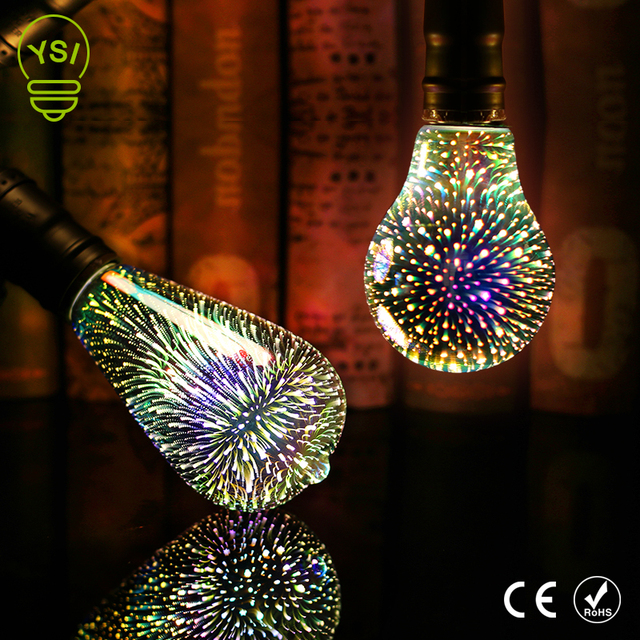 3d sterne led lampe 220 v e27 bunte feuerwerk edison birne fr urlaub weihnachtsdekoration - Bunte Led Lampen