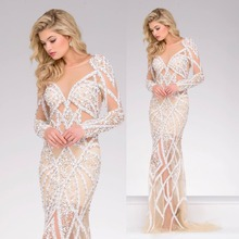 Vestido de festa longo Meerjungfrau Mit Langen Ärmeln O Neck Champagne Tüll Sequins Crystals Luxus Shiny Lange Abendkleider