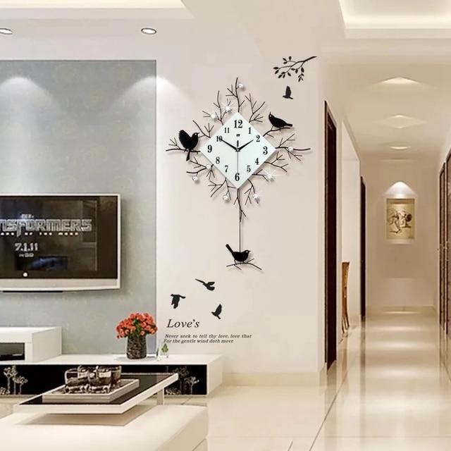 D groe schaukel wanduhr modernes design wand uhren wohnzimmer stcke diamanten stille vogel und with modernes design