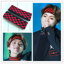 1 Pics Korean Super Star Kim Tae Hyung BTS V Black Red Plaid Headband Elastic Hair Band Headwear Fashion K Pop ARMY fans unisex(China)