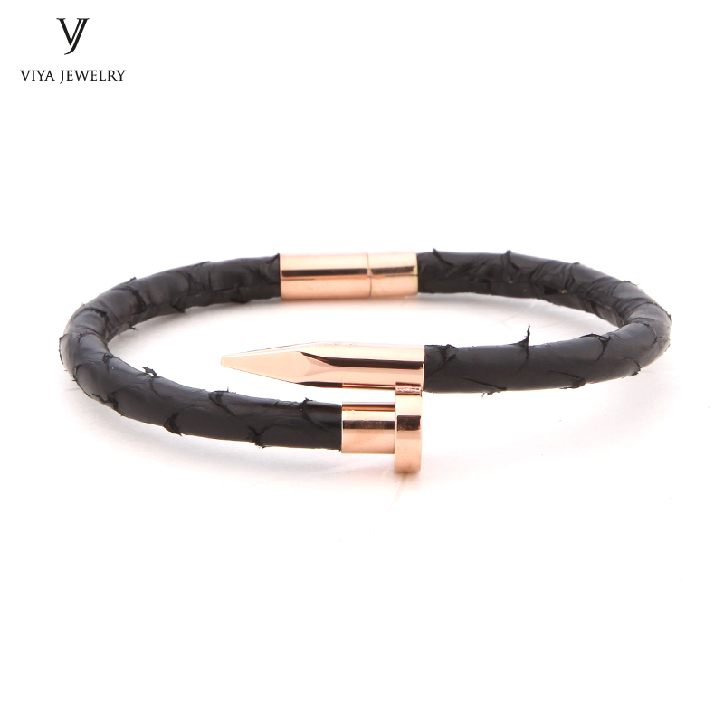 2017 NO.1 Sale Real Python Leather Nail Bracelet For Men Hot Sale Custom DIY Leather Cord Nail Bracelet For Small Or Big Wrist 2018 hot sale real one l