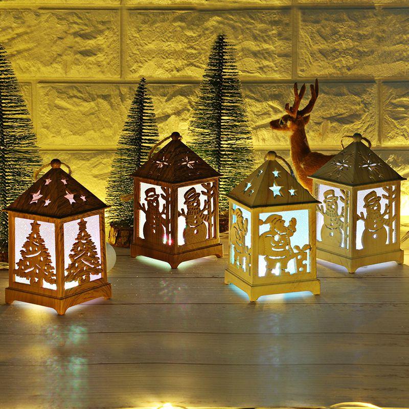 62947d49836 Feliz Navidad decoración Festival de luz LED casa de madera ...
