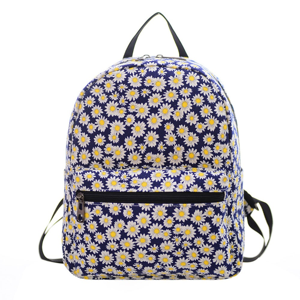 Full Daisy Flower Girl Backpack Zipper Double Shoulder Teen Schoolbag Canvas Cloth Floral Satchel Bags Travel Rucksack Carrier