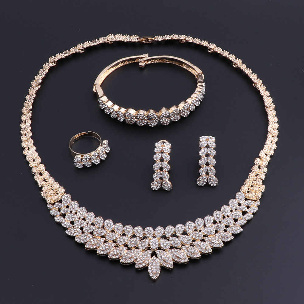 OEOEOS Wedding African Beads Jewelry Set For Women Turkish Indian Nigerian Bead Necklace Earrings Dubai Gold Jewelry Set