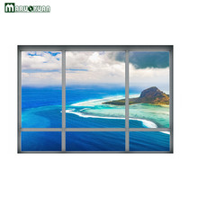 Maruoxuan 2017 New 3D Blue Sea Beach Fake Windows Stickers Bedroom Living Room Background Wall Decoration Pvc Wall Stickers