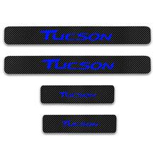 4pcs for Hyundai Tucson Door Sill Protector Reflective 4D Carbon Fiber Sticker Door Entry Guard Door Sill Scuff Plate Stickers цена