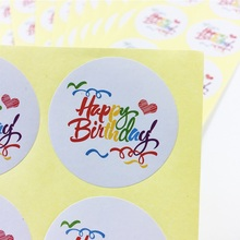 100pcs/lot Rainbow Happy Birthday Round Kraft Seal Sticker DIY Multifunction Gift Package Decoration Party Labels Scrapbooking