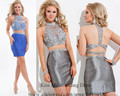 Vestido De Festa Curto 2015 Blue Silver Short Cocktail Dresses High Neck Backless Above Knee Two Pieces Dress to Party C432