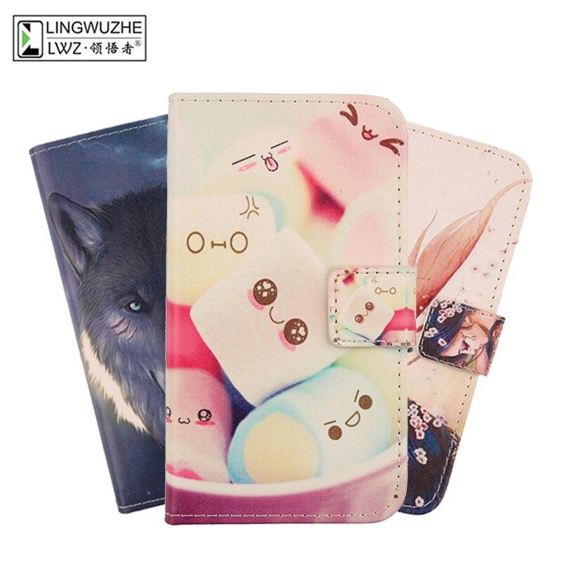LINGWUZHE Printing PU Leather Cover Flip Card Pocket <font><b>Cell</b></font> <font><b>Phone</b></font> Case for <font><b>Xgody</b></font> X16 5&#8243;