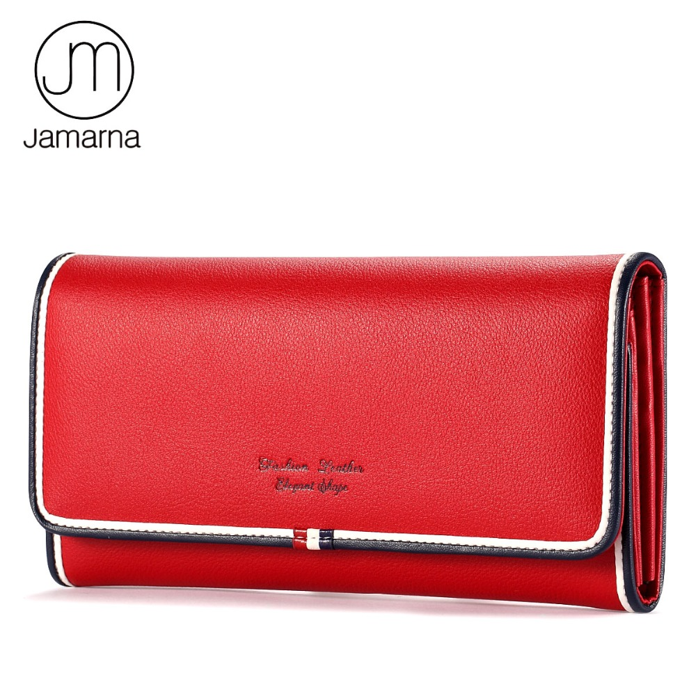 Jamarna Brand Genuine Leather Wallet female Long Clutch Purse Card Coin Holder Classic Red White And Blue Phone Wallet For Women large capacity women wallet leather card coin holder money clip long clutch phone wristlet trifold zipper cash female purse