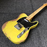 limited Relics Electric Guitar tl handmade yellow classical Guitars 21frets basswood body
