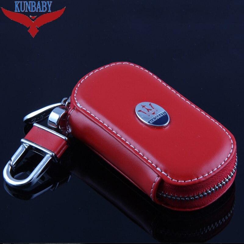 KUNBABY Men/Women's Car Keys Bag Keys Chains Case Holder Cowhide Leather Key Wallet For Maserati 2 Free Shipping