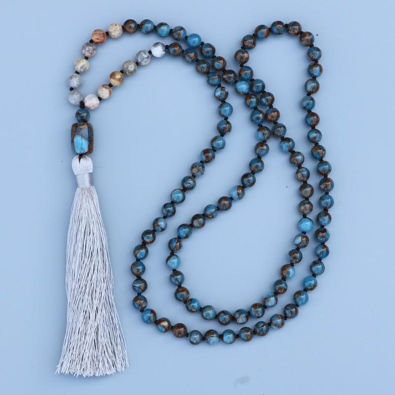 EDOTHALIA красивое ожерелье мала для женщин девочек 8 мм Mossic камень шарик и сумасшедший оникс бисером завязанный кулон ожерелье-in Ожерелья с подвеской from Украшения и аксессуары on AliExpress