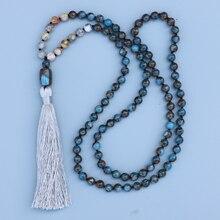 Красивое Ожерелье EDOTHALIA Mala для женщин и девушек 8 мм, подвеска из искусственного камня и искусственного бисера, ожерелье с узелком